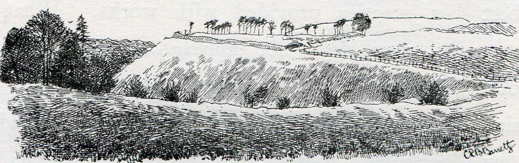 Oliver's Castle: Battle of Roundway Down on 13th July 1643 during the English Civil War: drawing by C.R.B. Barrett