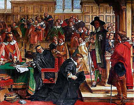 Attempted arrest of the 5 members of Parliament by King Charles I on 4th January 1642, the incident that prompted King Charles to leave London, and triggered the English Civil War: Battle of Edgehill 23rd October 1642