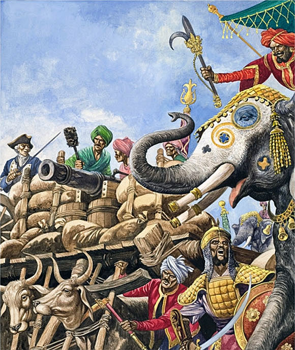 Suraj ud Daulah's guns advancing at the Battle of Plassey on 23rd June 1757 in the Anglo-French Wars in India: picture by Cecil Doughty