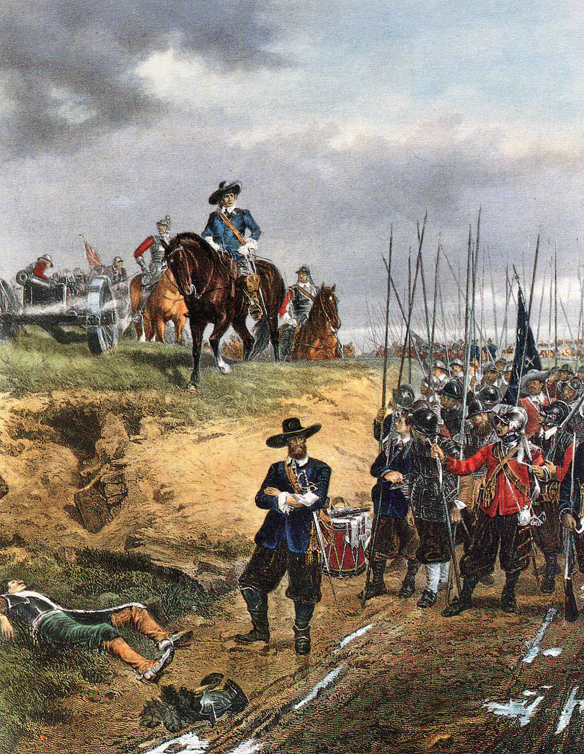 Oliver Cromwell and a regiment of Parliamentary Foot at the Battle of Marston Moor on 2nd July 1644 in the English Civil War: picture by Ernest Crofts