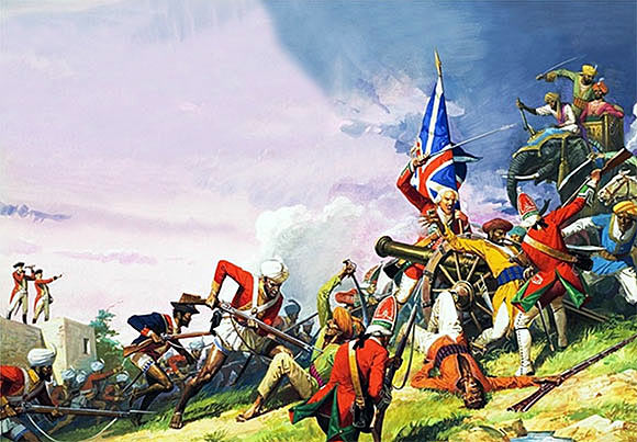 Assault on the French troops around the Tank at the Battle of Plassey 23rd June 1757 in the Anglo-French Wars in India