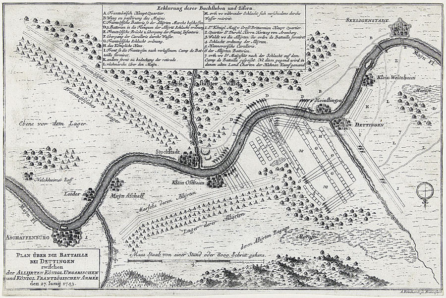 Contemporary map of the Battle of Dettingen on 16th June 1743 in the War of the Austrian Succession by Andreas Reinhard (II) of Frankfurt am Main from the Rijksmuseum in Amsterdam.  The map is orientated with north to the bottom. The extensive French batteries to the south of the River Main are shown
