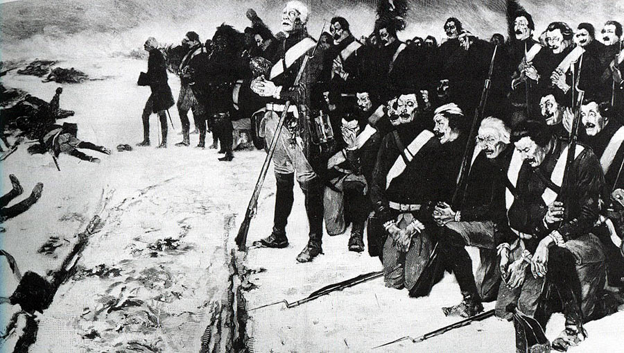 "Prussian soldiers singing ""Nun danket alle Gott"" at the end of the Battle of Leuthen 5th December 1757 in the Seven Years War"