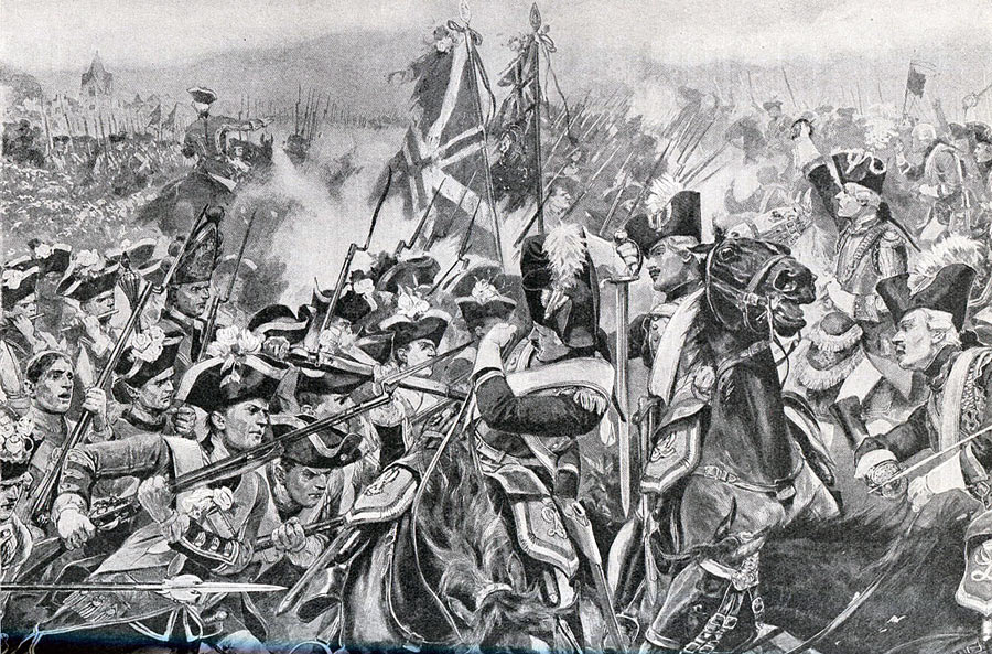 Battle of Minden 1st August 1759 in the Seven Years War: picture by Richard Caton Woodville