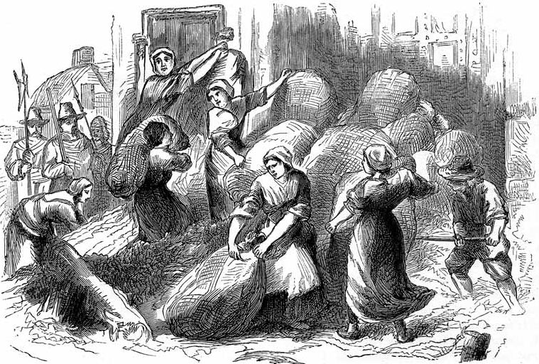 Dorothy Hazzard, Joan Batten and Widow Kelly leading a party of women reinforcing the Frome Gate with woolsacks and earth to keep the Royalists from breaking through during the Storming of Bristol on 26th July 1643 in the English Civil War