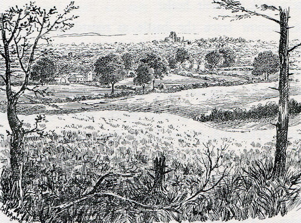 Marston Moor, looking east to York: Battle of Marston Moor on 2nd July 1644 in the English Civil War: drawing by C.R.B. Barrett