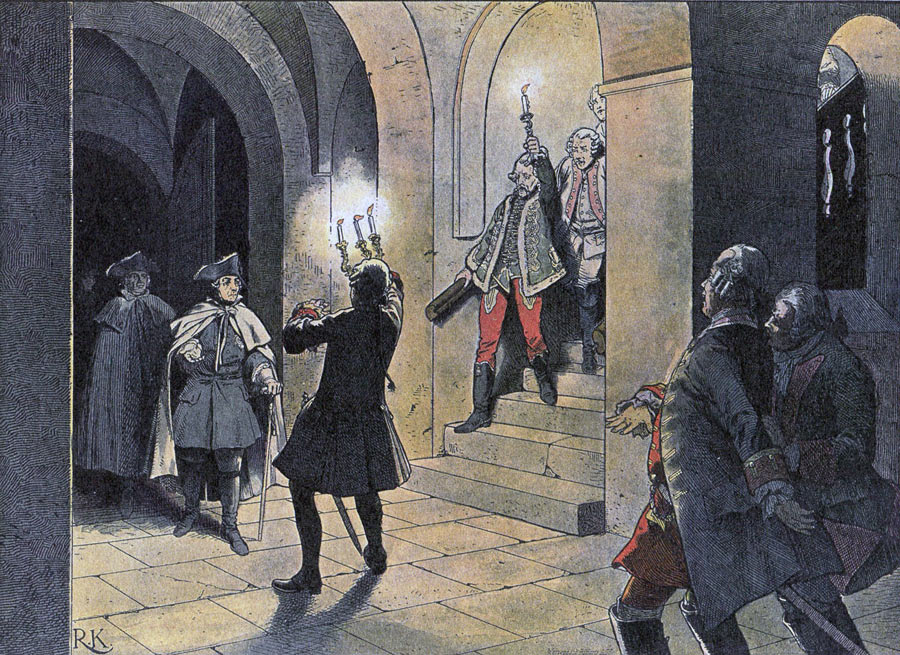 Frederick the Great arriving at the Schloss von Lissa after the Battle of Leuthen 5th December 1757 in the Seven Years War: picture by Richard Knötel
