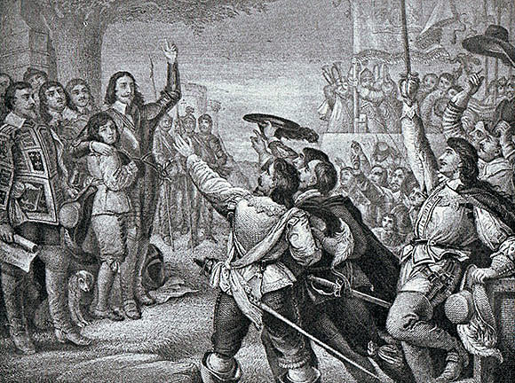 King Charles I raises his standard: Battle of Edgehill 23rd October 1642 in the English Civil War
