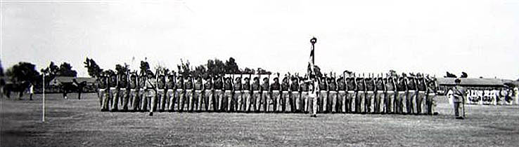 Lancashire Fusiliers (XXth Foot) trooping the colour on Minden Day 1951 in Egypt