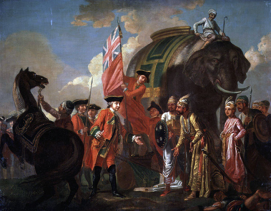 Clive meets Mir Jaffir after the Battle of Plassey on 23rd June 1757 in the Anglo-French Wars in India: picture by Francis Hayman