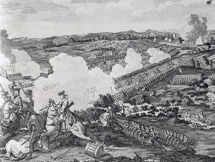 English Engraving of the Prussian attack at the Battle of Leuthen 5th December 1757 in the Seven Years War