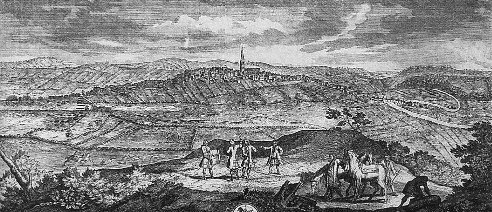 Wakefield from the south: Howley Hall to left background: Heath House to the right: Stanley Village in central distance: all unseen: Battle of Wakefield 20th May 1643 in the English Civil War