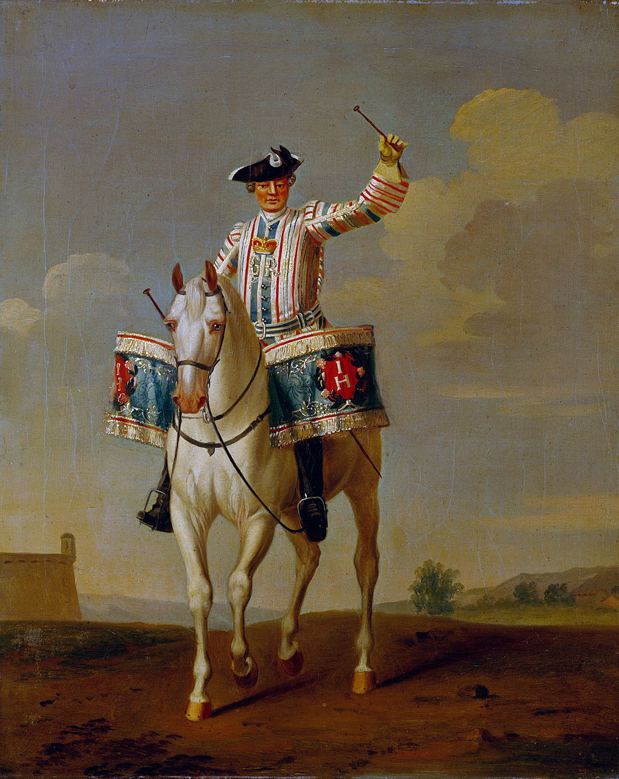 British Kettle Drummer of Horse: Battle of Warburg on 31st July 1760 during the Seven Years War: picture by David Morier