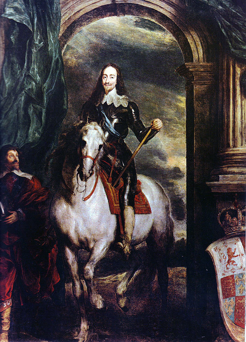 King Charles I of England: picture by Sir Anthony van Dyck: Battle of Edgehill on 23rd October 1642 in the English Civil War
