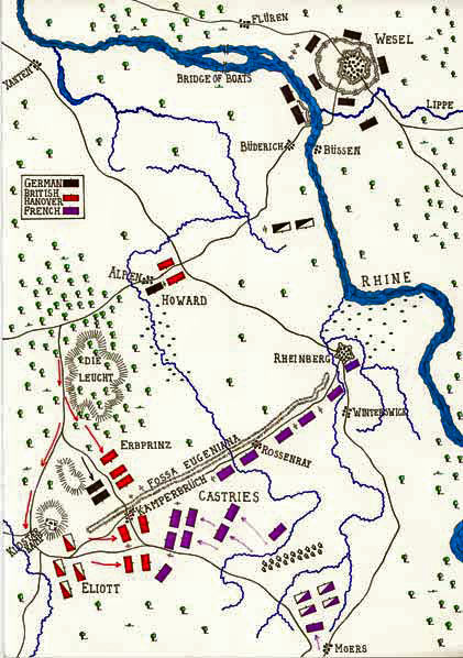 Map of the Battle of Kloster Kamp on 15th October 1760 in the Seven Years War: map by John Fawkes