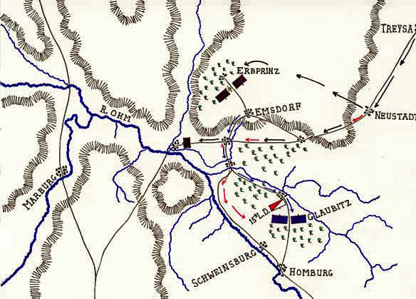 Map of the Battle of Emsdorf on 14th July 1760 in the Seven Years War: map by John Fawkes
