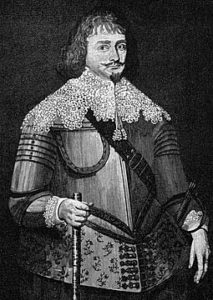 Sir Bevil Grenville, commander of a Cornish regiment of foot, mortally wounded at the Battle of Lansdown Hill on 5th July 1643 in The English Civil War