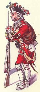 Soldier of the 20th Foot with roses in his hat at the Battle of Minden 1st August 1759 in the Seven Years War