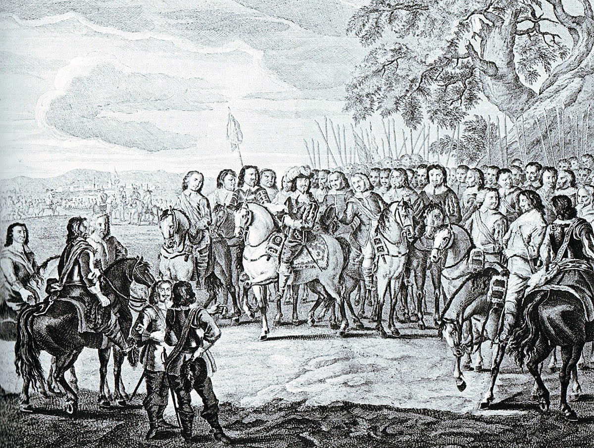 King Charles I addresses his officers in September 1642: Battle of Edgehill 23rd October 1642 during the English Civil War