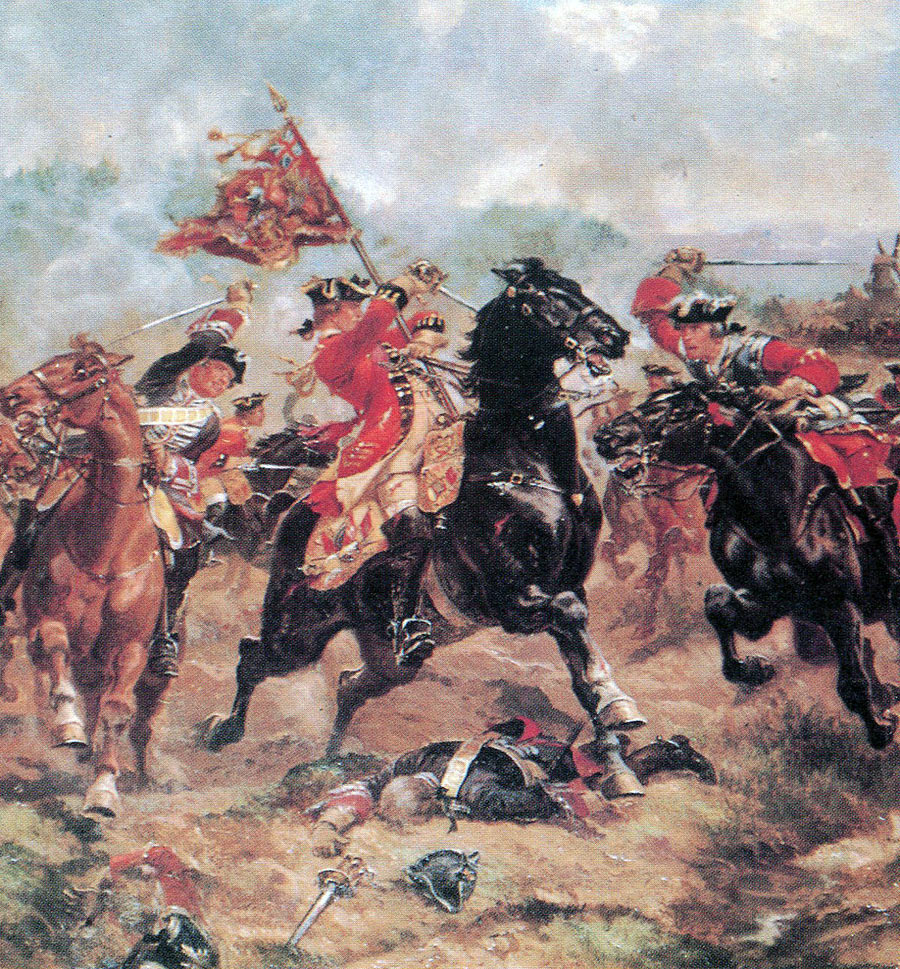 Cornet Richardson rescuing the standard of the 7th Horse: Battle of Dettingen fought on 16th June 1743 in the War of the Austrian Succession