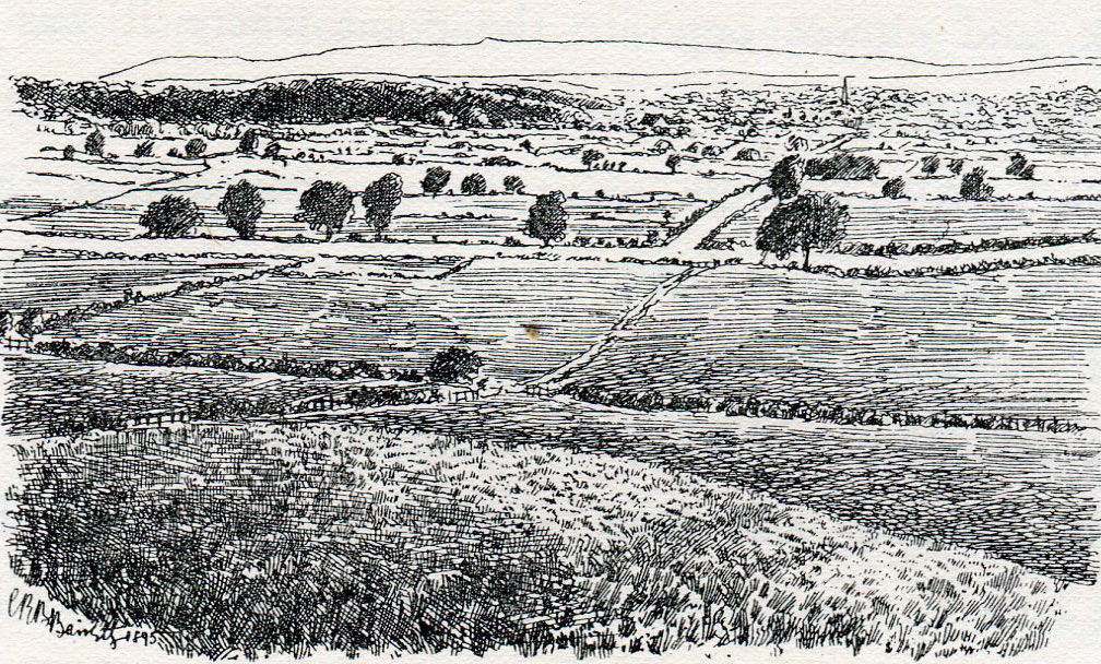 Marston Moor, looking north from the Parliamentary Scots position towards the Royalist position at the Battle of Marston Moor on 2nd July 1644 in the English Civil War: drawing by C.R.B. Barrett