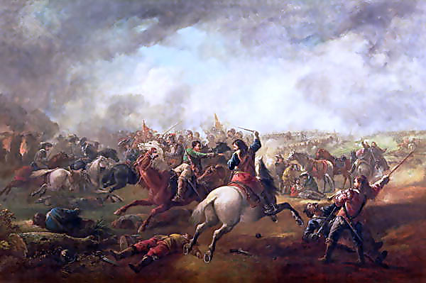 Battle of Marston Moor on 2nd July 1644 in the English Civil War: picture by J. Barker
