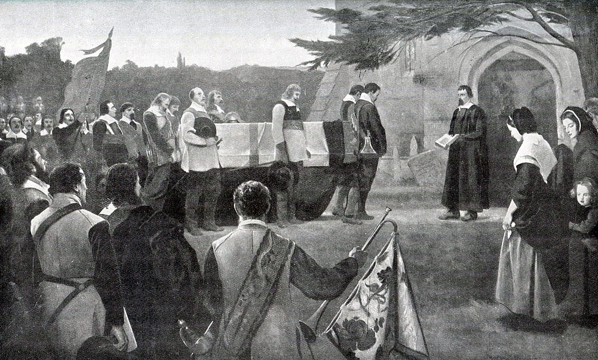 Funeral of John Hampden, mortally wounded at the Battle of Chalgrove 18th June 1643 in the English Civil War