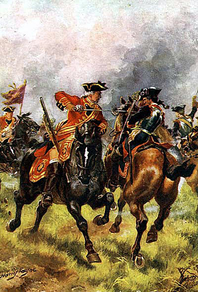 Horse Guards at the Battle of Dettingen fought on 16th June 1743 in the War of the Austrian Succession: picture by Harry Payne