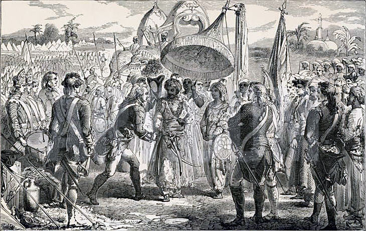 Clive meets Mir Jaffir after the Battle of Plassey 23rd June 1757 in the Anglo-French Wars in India: picture by James Godwin