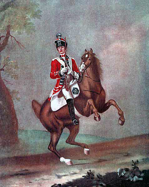British Light Dragoon: Battle of Emsdorf on 14th July 1760 in the Seven Years War: picture by David Morier