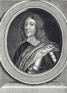 Colonel Nathaniel Fiennes, Parliamentary Governor of Bristol at the Storming of the City on 26th July 1643. Fiennes was condemned to death for surrendering the City, after a brave and resourceful defence: engraving by Michael Vandergucht