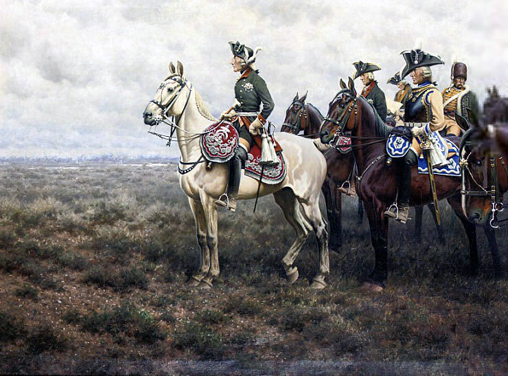 Frederick the Great and his staff at the Battle of Leuthen 5th December 1757 in the Seven Years War: picture by Hugo Ungewitter