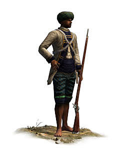 French Sepoy: Battle of Kaveripauk on 23rd February 1752 in the Anglo-French Wars in India (Second Carnatic War)