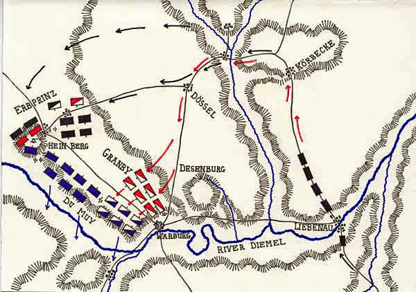 Map of the Battle of Warburg on 31st July 1760 during the Seven Years War: map by John Fawkes