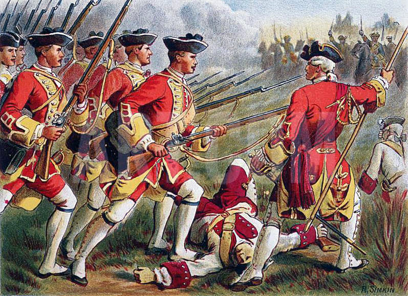 British Foot at the Battle of Minden on 1st August 1759 in the Seven Years War: picture by Richard Simkin