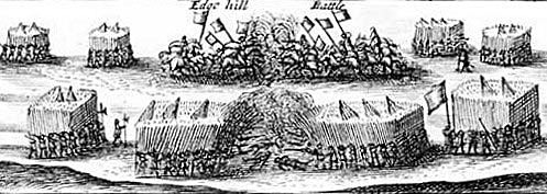 Contemporary drawing of the Battle of Edgehill on 23rd October 1642 in the English Civil War illustrating the formation of regiments of Foot with clumps of pikemen surrounded by musketeers and Horse discharging pistols