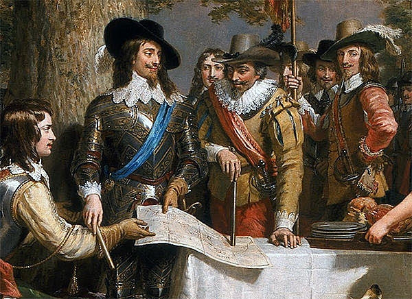 King Charles I with his advisers before the Battle of Edgehill on 23rd October 1642 in the English Civil War: picture by Charles Landseer