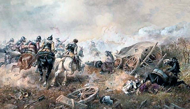 Royalist attack on the Parliamentary train at the Battle of Edgehill on 23rd October 1642 in the English Civil War