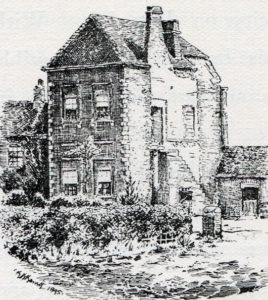 Long Marston Old Hall: Battle of Marston Moor on 2nd July 1644 in the English Civil War: drawing by C.R.B. Barrett