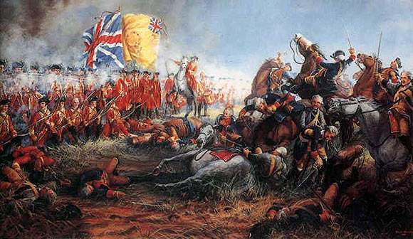 37th Foot, the centre regiment of the first line of British foot, repelling the attack of the French cavalry at the Battle of Minden