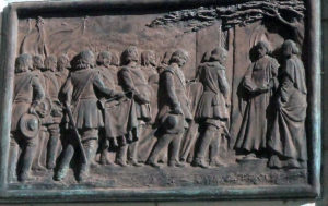 Funeral of John Hampden from his statue in Aylesbury: Hampden was mortally wounded at the Battle of Chalgrove 18th June 1643 in the English Civil War