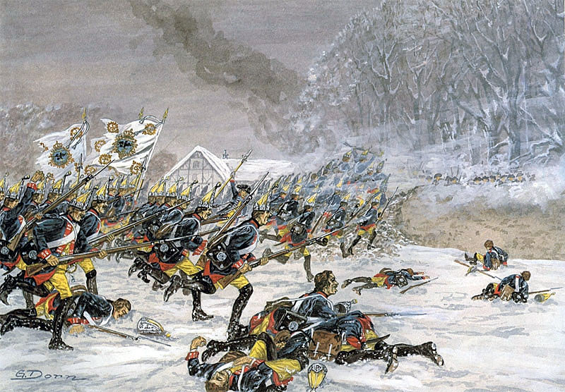 Prussian Infantry Regiment Number 3 attacking at the Battle of Leuthen 5th December 1757 in the Seven Years War: picture by G. Dorn