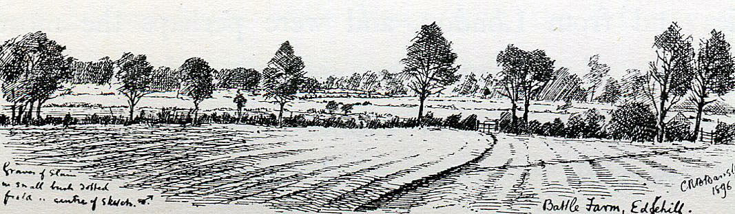 Battle Farm, showing the spot where casualties were buried from the Battle of Edgehill 23rd October 1642 during the English Civil War: drawing by C.R.B. Barrett