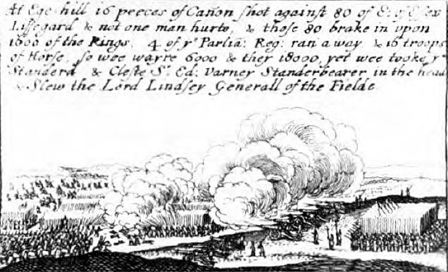 Contemporary drawing of the Battle of Edgehill on 23rd October 1642 in the English Civil War