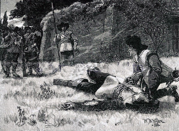 Execution of Sir Charles Lucas and Sir George Lisle at Colchester Castle in 1648: picture by William Barnes Wollen