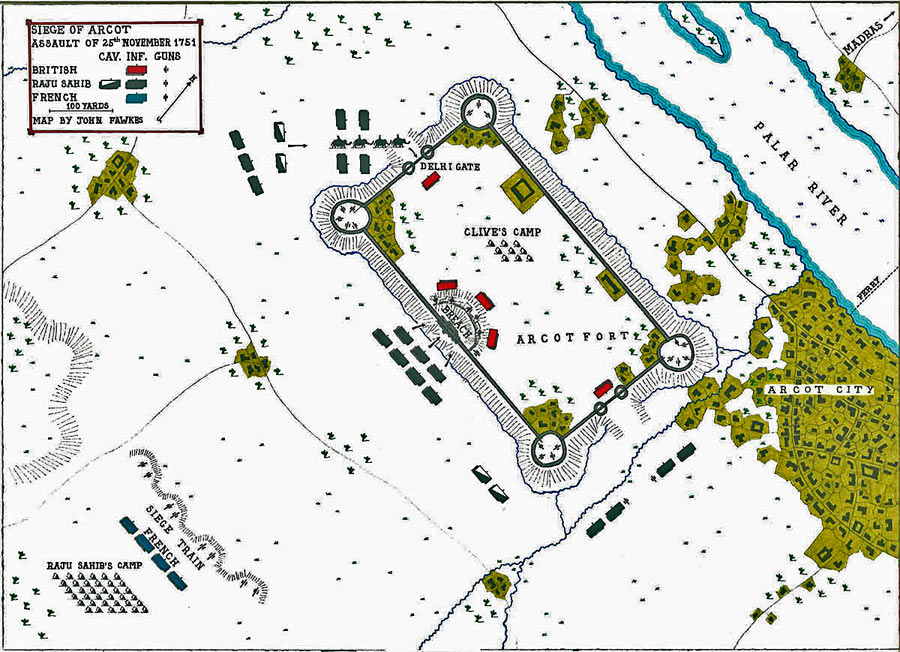 Map of Siege of Arcot 31st August to 15th November 1751 in the War in India: map by John Fawkes