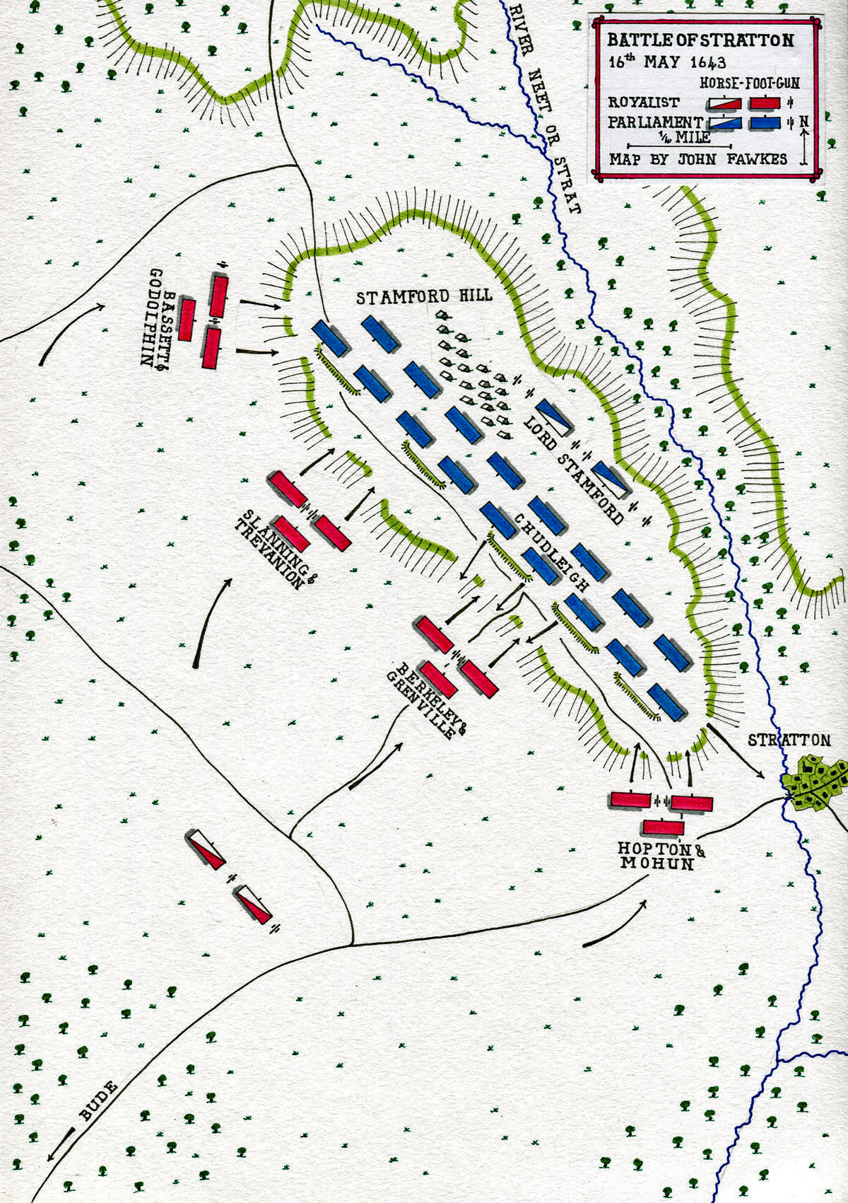 Map of Battle of Stratton 16th May 1643 during the English Civil War: map by John Fawkes
