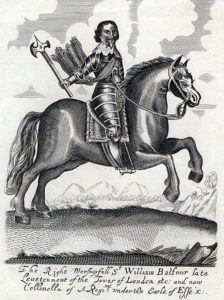 Sir William Balfour, Parliamentary Cavalry Commander at the Battle of Lostwithiel, 11th August to 2nd September 1644 in the English Civil War: a contemporary engraving by an unknown artist