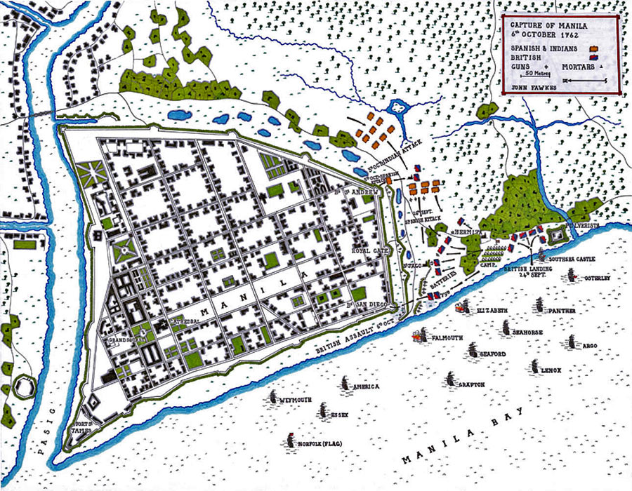 Map of the Siege and Capture of Manila 24th September to 6th October 1762 by the British: map by John Fawkes