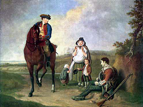 Marquess of Granby relieving a sick soldier: Battle of Warburg on 31st July 1760 during the Seven Years War